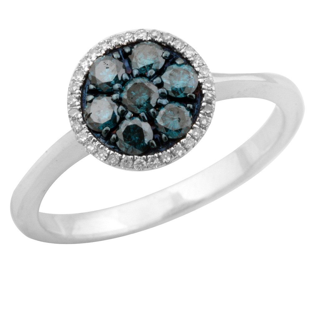 925 Sterling Silver Cluster Ring Goldenstar 0.50Ct Blue and White Diamond Ring